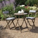 Raffles Acacia Bistro Set with Cushions Grey
