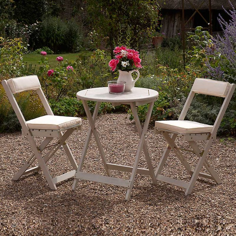 Raffles Acacia Bistro Set with White Cushions