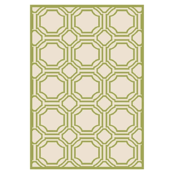 Ferrat Outdoor Rug Ivory / Light Green (76 X 121 cm)