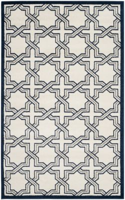 Barcares Outdoor Rug Ivory / Navy (152 X 243 cm)