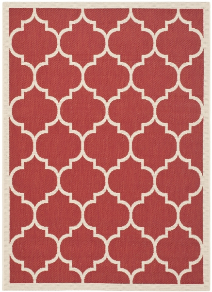 Monaco Outdoor Rug Red / Bone (60 X 109 cm)
