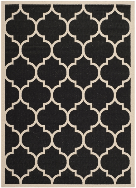 Monaco Outdoor Rug Black / Beige (121 X 170 cm)