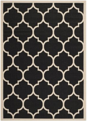 Monaco Outdoor Rug Black / Beige (60 X 109 cm)