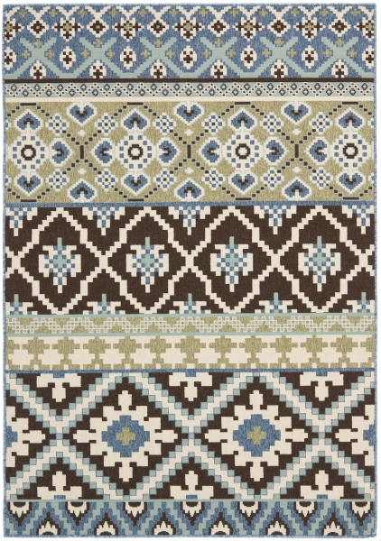 Sihora Outdoor Rug Chocolate / Blue (160 X 231 cm)