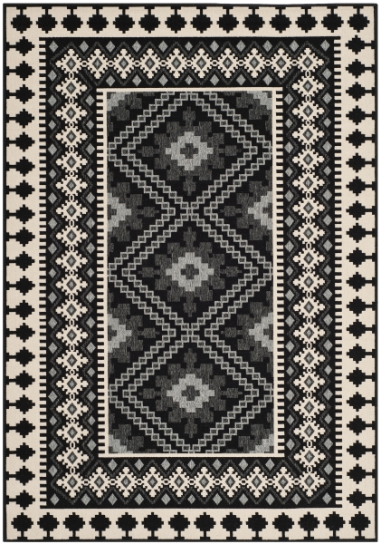 Ratia Outdoor Rug Black / Creme (78 X 152 cm)