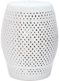 Diamond Garden Stool White