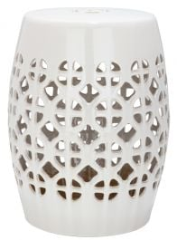 Circle Lattice Garden Stool Cream