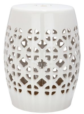 Cirlce Lattice Garden Stool Cream