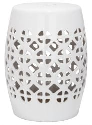 Circle Latice Garden Stool White