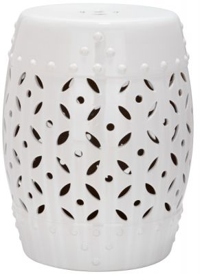 Lattice Coin Garden Stool White