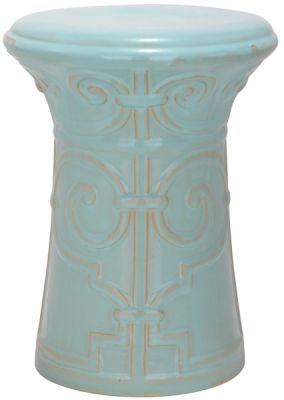 Imperial Scroll Garden Stool Light Aqua