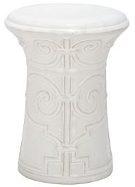 Imperial Scroll Garden Stool White