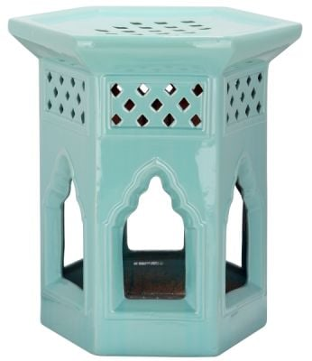 Morrocan Garden Stool Light Aqua
