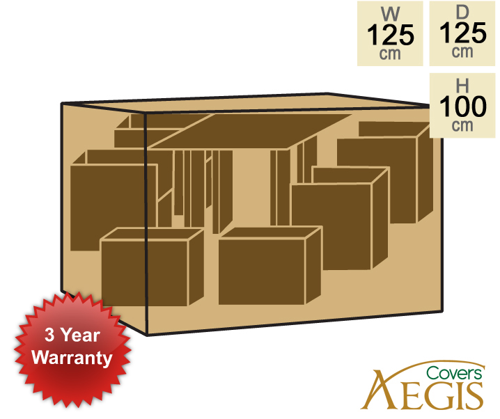 8 Seater Green Cube Set Cover Aegis W120cm x D120cm - Deluxe