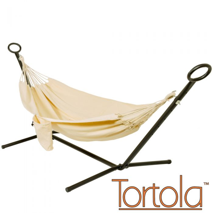 Ivory Outdoor Garden Double Hammock with Steel Hammock Stand and Carry Bag - by Tortola®
