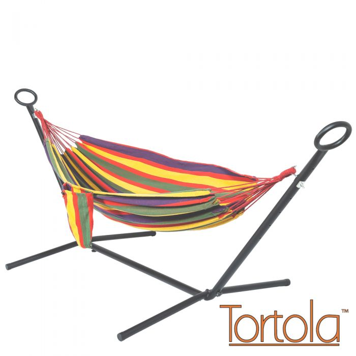 Rainbow Outdoor Garden Double Hammock with Steel Hammock Stand and Carry Bag - by Tortola®
