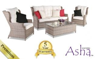 "5 Seater High Back Rattan Weave Garden Sofa Set - Asha™ ""Ruscombe"" (Mixed Brown)"