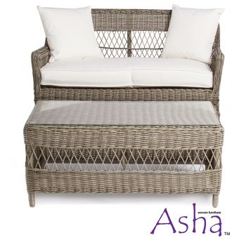 "2 Seater Rattan Weave Sofa and Coffee Table Set - Asha™ ""Recife"" (Light Brown)"