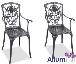 Pair of  Cast Aluminium Rose Garden Chairs By Alium