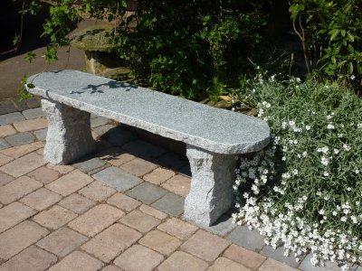Rustic Straight Bench 100cm L- Grey Granite Garden Furniture