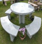 rustic table & 4 benches set table top dia120cm Garden Furniture