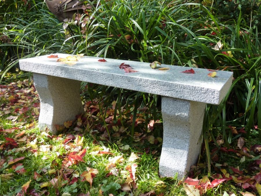 Straight Bench 120cm L- Grey Granite Garden Furniture