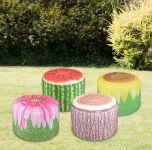 Set of 4 Decorative Garden Pouffes Outdoor Seat Multiple Designs