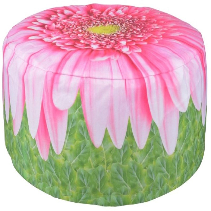 Decorative Garden Pouffe Outdoor Seat Pink Daisy Design