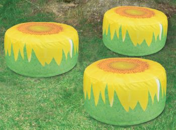Decorative Garden Pouffe Outdoor Seat Sunflower Design