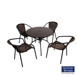 Fleuretta 90cm Patio Table with San Luca Chairs Set