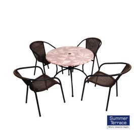 Romano 90cm Patio Table with San Luca Chairs Set