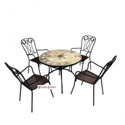 Alicante Patio Dining Table Set with 4 Verona Chairs Set