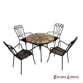 Granada Patio Table with 4 Verona Chairs Set