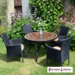 Santa Susanna Dining Table Set with 4 Stockholm Black Chairs Set