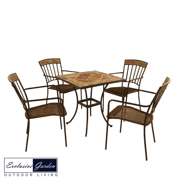 Clandon Square table 71cm with 4 Kingswood Chairs Set