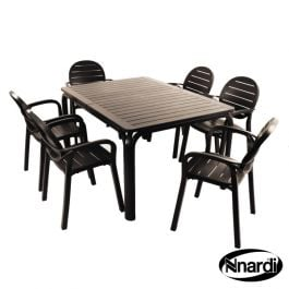 Anthracite Alloro Table with 6 Palma Chairs Set