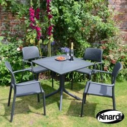 Anthracite Clip Table Set with 4 Stacking Bora Chairs Set