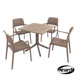 Turtle Dove Square Clip Table with 4 Bora Chairs Set