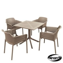 Turtle Dove Square Clip Table with 4 Net Chairs Set