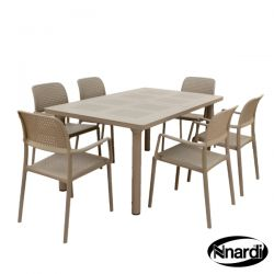 Extending Turtle Dove Libeccio Dining Table Set with 2 Folding Darsena & 4 Stacking Bora Chairs Set
