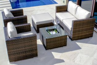 Five Piece Brown Rattan Sofa Set with Ice Bucket