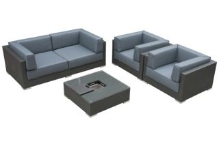 Five Piece Grey Rattan Sofa Set with Ice Bucket