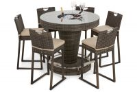 Round 6 Seat Brown Rattan Bar Set with Ice Bucket