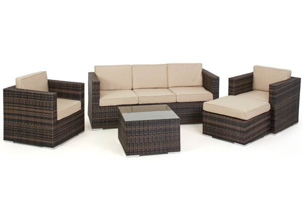 Georgia Sofa Set With Ice Bucket in Brown