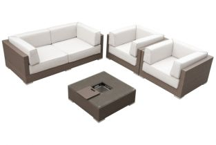 Monaco Sofa Set with Ice Bucket in Brown