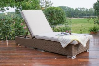 Monaco Rattan Sunlounger in Brown