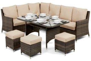 Venice Corner Sofa Dining Set with Ice Bucket in Brown