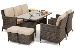 Venice Sofa Dining Set with Ice Bucket in Brown