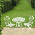 Folding Wrought Iron Hampton Bistro Table and Chairs Set in Cream - 75cm