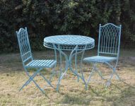 Folding Wrought Iron Hampton Bistro Table and Chairs Set in Powder Blue - 75cm